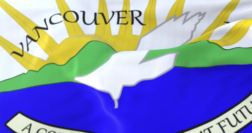 Vancouver flag, city of Washington state, United States of America, slow - loop Animation