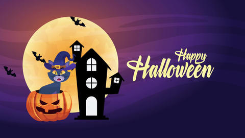 Happy halloween animated scene with 4k animation 30 Live Action