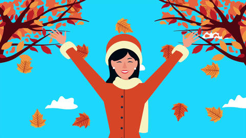 Hello autumn animation with beautiful woman and animals 4k animated 5 Live Action