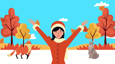 Hello autumn animation with beautiful woman and animals 4k animated Live Action