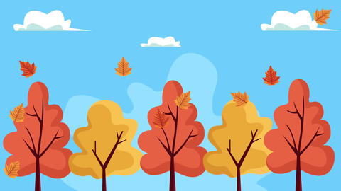 Hello autumn animation with forest landscape 4k animated 2 Live Action