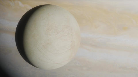 Ice moon europa on the background of the large gas planet jupiter Live Action
