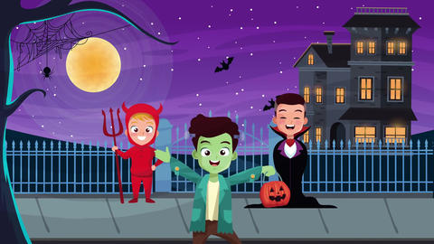 Happy halloween animated scene with 4k animation 16 Live Action