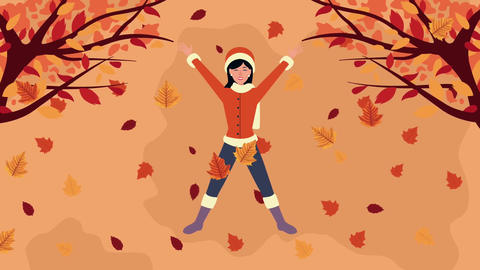 Hello autumn animation with beautiful woman and animals 4k animated 3 Live Action