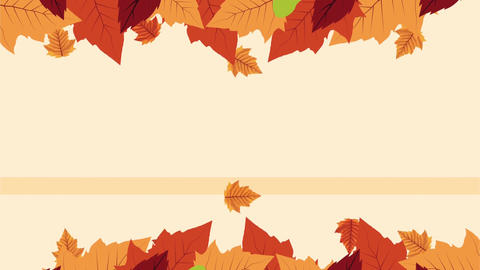 Hello autumn animation with leafs circular frame 4k animated 3 Live Action