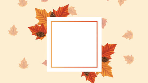 Hello autumn animation with leafs circular frame 4k animated 9 Live Action
