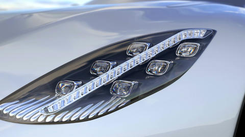 Supercar headlight Closeup. Complete custom made 3d rendering animation Animation