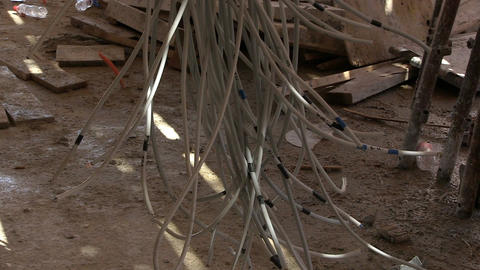 Electricity cables on building construction site Footage