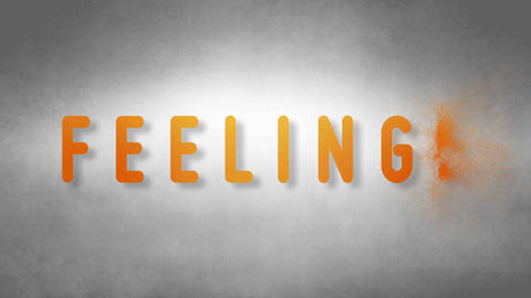 Feelings headband. Text from sand. With black background Animation