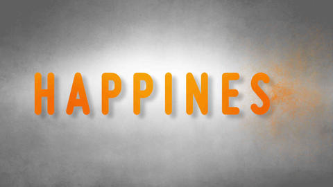 Happiness headband. Text from sand. With black background Animation