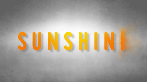 Sunshine headband. Text from sand. With black background Animation