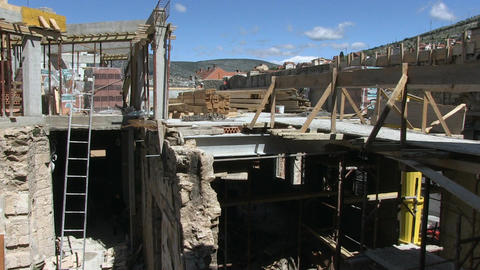 Construction site, materials, view from the roof Footage