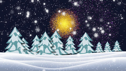 Christmas tree with light and firework in night winter landscape Animation