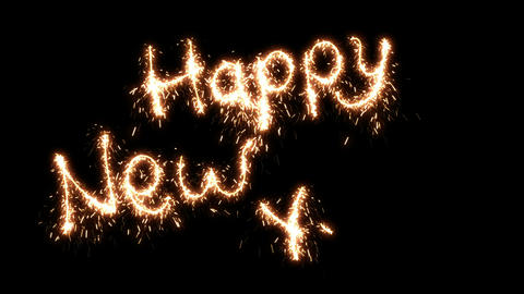 Beautiful Animation of Sparklers Text Appearing on Black. Happy New Year Theme.  Animation