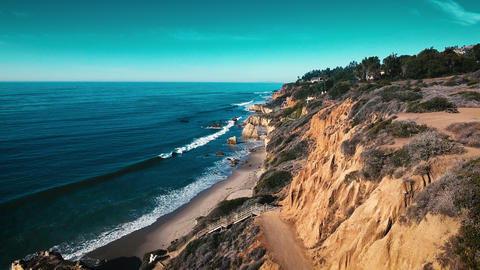 Deserted Wild El Matador Beach Malibu California Aerial Ocean View - Waves with  Footage