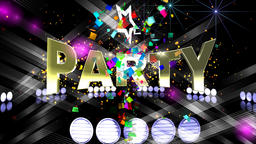 Party. Animated banner. Text, fire, colorful light, stars and confetti Animation