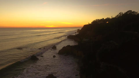 Sunset Deserted Wild El Matador Beach Malibu California Aerial Ocean View - Stro Footage
