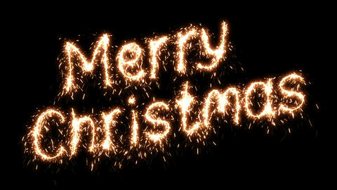 Beautiful Animation of Sparklers Text Appearing on Black. Merry Christmas Theme. Animation