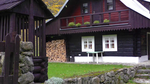 Beautiful wooden house in summer Footage