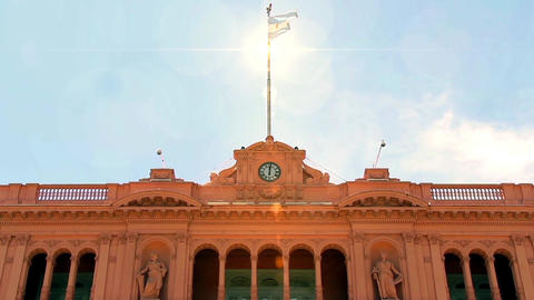 Sun Rays Over Casa Rosada (Pink House) Footage