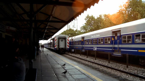 Trains In Station At Sunset Footage