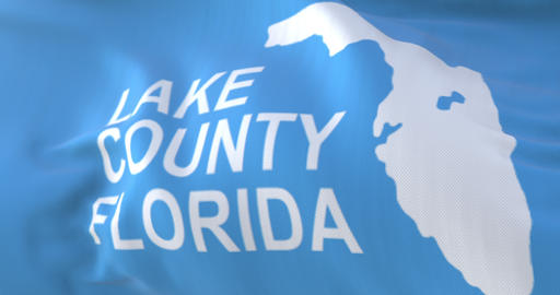 Lake County flag, county of the state of Florida, United States - loop Animation