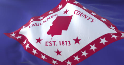 Flag of Faulkner, county of the state of Arkansas, United States - loop Animation