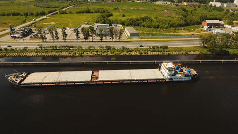 Aerial view:Barge on the river Live Action