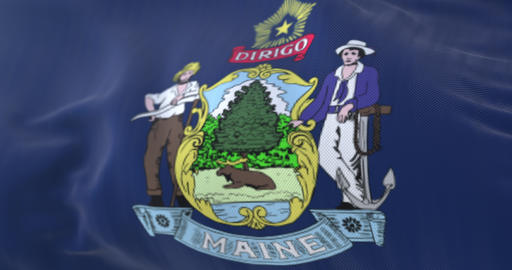 Flag of american state of Maine, region of the United States - loop Animation
