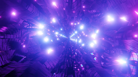 Glowing bright reflection tunnel 3d illustration motion background vj loop Animation