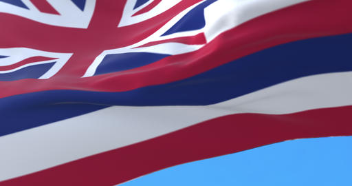 Flag of Hawaii state, United States, waving at wind. Loop Animation