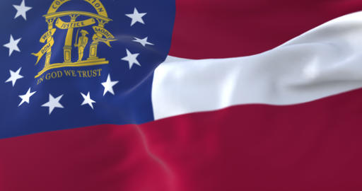 Flag of american state of Georgia, United States, waving at wind. Loop Animation