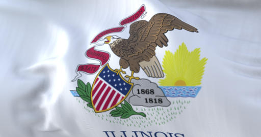 Flag of american Illinois state, United States, waving at wind. Loop Animation