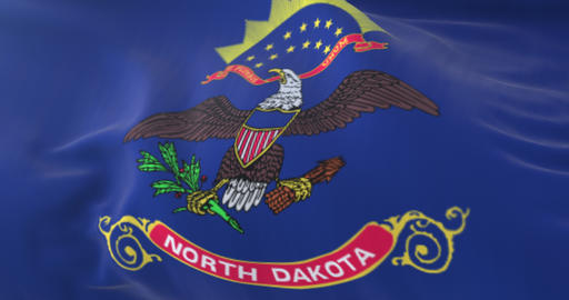 Flag of american state of North Dakota, region of the United States. Loop Animation