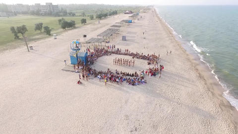 action on the beach.aerial photography Footage