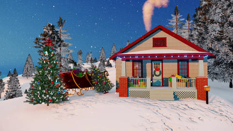 House of Santa Claus decorated for Christmas Animation