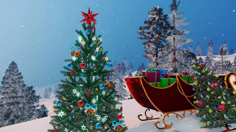 Santa's sleigh and decorated Christmas tree Animation