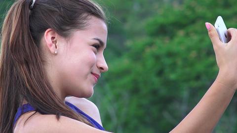 Teen Girl Taking Selfy Live Action
