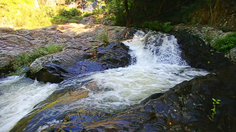 Foamy Mountain River with Waterfall Cascades in Tropics Footage