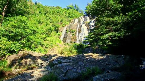 Foamy Mountain River Waterfall Cascade in Tropics Footage