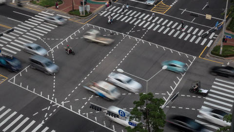 Timelapse of busy junction in Seoul, South Korea Footage