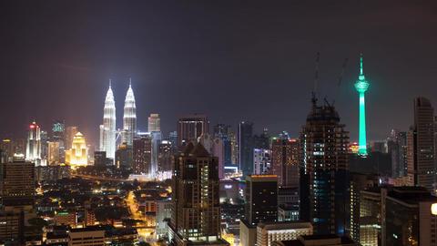 Timelapse of night Kuala Lumpur, Malaysia Live Action