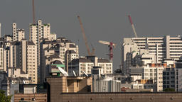 Timelapse of building cranes working in Seoul, South Korea Footage
