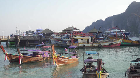 Ships and boats at the pier on Phi Phi island Footage