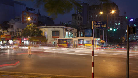 Timelapse of intense road traffic in night Hanoi, Vietnam Footage