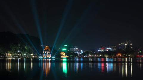 Timelapse of night Hanoi with colorful Hoan Kiem Lake Footage