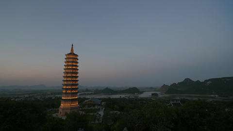 Timelapse shot of evening coming to Bai Dinh Temple, Vietnam Footage
