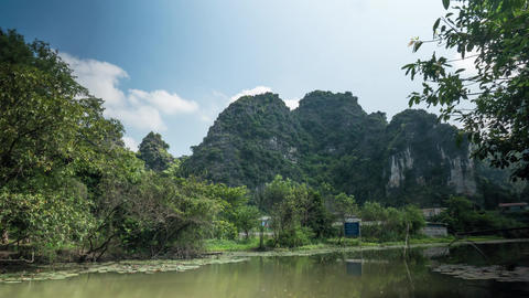 Timelapse of scenic view of river in Vietnam Footage