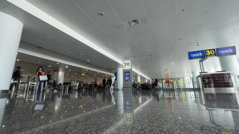 Timelapse of people walking in airport hall and security checkpoint Footage