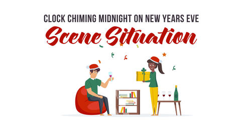 Clock chiming midnight on New Years Eve - Scene Situation After Effects Template